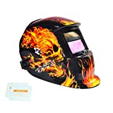 Tekware Welding Helmet Solar Power Auto Darkening Hood Welder Mask Breathable Grinding Helmets with Adjustable Shade Range (Color: Skull)