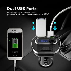 VicTsing (Upgraded Version) V4.1 Bluetooth FM Transmitter for Car, Wireless Radio Transmitter Adapter with Music Player Support Aux Output Input, TF Card and U-Disk, Hands Free and Dual USB Ports (Color: Black)