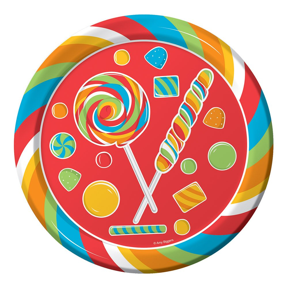Swirled old fashioned lollipops and hard candy themed round plates Plates measure 9\  in diameter Includes 8 plates per package Coated paper plates for ...  sc 1 st  Birthday Wikii - Blogger : candy themed paper plates - pezcame.com