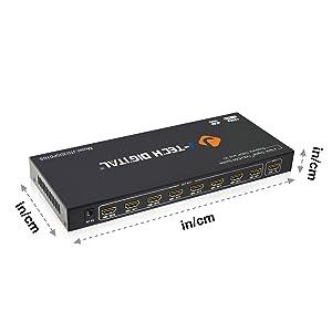 J-Tech Digital JTD3DSP0108 8-Port HDMI v1.3 1-Input 8-Output 1x8 1080P HDMI Splitter (Tamaño: HDMI 1X8 1080P)