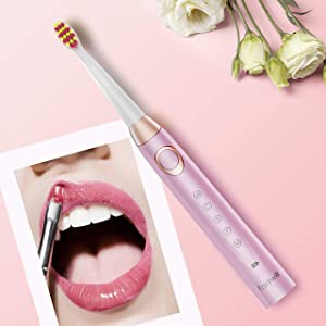 Sonic Electric Toothbrush Rechargeable for Adults and Teens - Orthodontic Cleaning for Braces 5 Modes Whitening Toothbrush with 4 Brush Heads 4 Hours Charging for Over 30 Days Use, Pink by Fairywill (Color: FW508Pink, Tamaño: 508Pink)