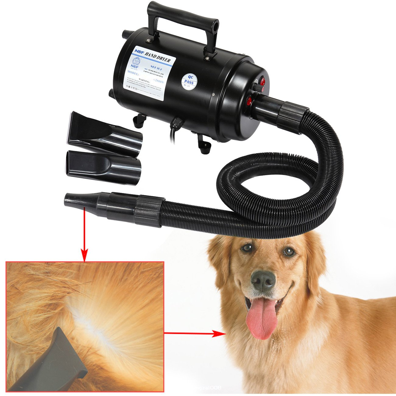 Ridgeyard Portable 2800w Dog Cat Hair Blow Dryer Pet Grooming Home Bathing Draw Hairdryer w/Heater for Cats Dogs High Speeds Adjustable Heat