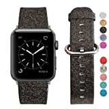 MIFFO Apple Watch Band 42mm, iWatch Strap Fashion Shiny Bling Glitter Leather Bracelet Wristband Replacment for Apple Watch Series 1 Series 2 Series 3 (Black 42mm) (Color: Black 42mm)