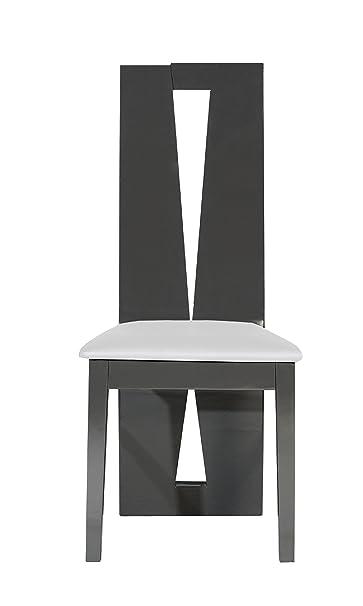 Sciae 13St2501 Quartz 67, silla, conjunto de 2, 43 x 49 x 102 cm, brillante-gris-lacado