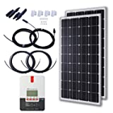 KOMAES 200 Watts 12 Volts Monocrystalline Solar Starter Kit with 20A MPPT Charge Controller, 20ft Tray Cable, 20ft MC4 Adaptor Kit, Mounting Z Brackets (Tamaño: 2pcs 20A MPPT Kit)