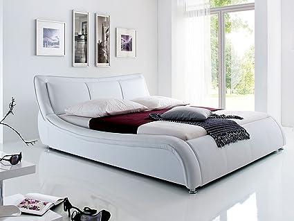 """Polsterbett Kunstleder Bett Ehebett Doppelbett Betten Jugendbett """"Soraya I"""" (180x200 cm, Weiß)"""