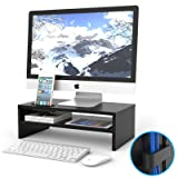 1homefurnit Universal Wood Monitor Stands Speaker TV PC Laptop Computer Screen Riser Desk Organizer 16.7 inch with Shelf Black (Color: black, Tamaño: 16.7 inch 2 tier)