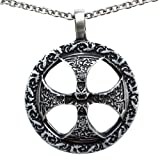 OhDeal4U Celtic Sun Solar Cross Sunwheel Pewter Pendant Pewter Pendant Charm Amulet Necklace (Stainless Steel Chain Necklace) (Color: silver)