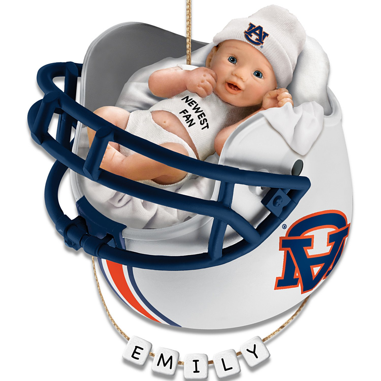 NCAA Auburn University Tigers Baby's First Christmas Ornament with Personalization Kit by The Bradford Exchange