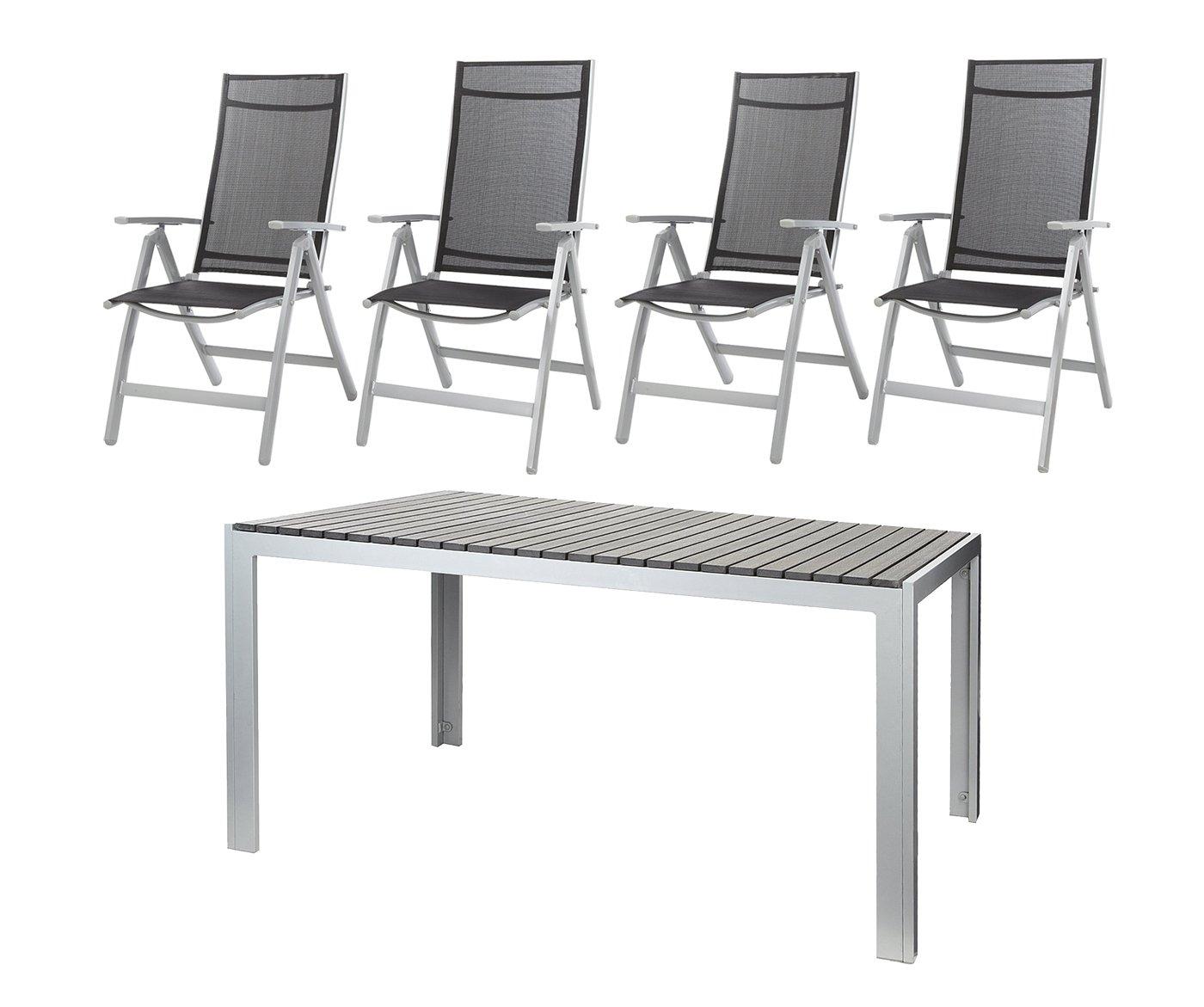 Möbelgarnitur Aluminium Tisch 150 x 90 cm anthrazit, mit 4 Klappsesseln
