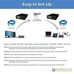 Tupavco Ethernet Extender Kit - 2pc Pair TEX-100 - Range up to 1 Mile/7000FT Over Phone Copper Wire or CAT5/CAT6 Network Cable -VDSL2 LAN Booster Bridge Repeater-VDSL High Speed Broadband 100 Mbps (Color: VDSL 1 Mile, Tamaño: VDSL 1 Mile)