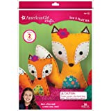 American Girl Crafts DIY Fox Stuffed Animals Sew and Stuff Kit, 8'' W x 10.5'' H and 5.25'' W x 6'' H (Color: Fox)