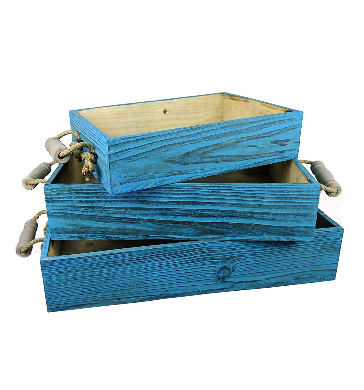Vintage Rustic Wooden Crate Trays with Rope Handles- Set of 3 - Pirate Home Decor Gift - Nagina International 0