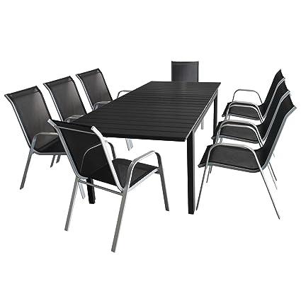9tlg. Gartengarnitur - Ausziehtisch mit Polywood Tischplatte 160/210x95cm + 8x Stapelstuhl mit komfortabler Textilenbespannung - Sitzgruppe Sitzgarnitur Sitzgruppe Gartenmöbel Terrassenmöbel Set
