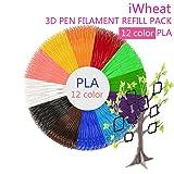 iWheat 3D Pen Filament Refills, Premium PLA 3D Printing Pen Filament 1.75mm, Set of 12 Popular Colors, 20 Feet Each, 240 Feet Total, Great Filament Re