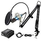 TONOR PRO, MICRÓFONO DE CONDENSADOR XLR A 3.5 MM PODCASTING.  Estudio de grabación Kit de micrófono de condensador Micrófonos de computadora con fuente de alimentación fantasma de 48V