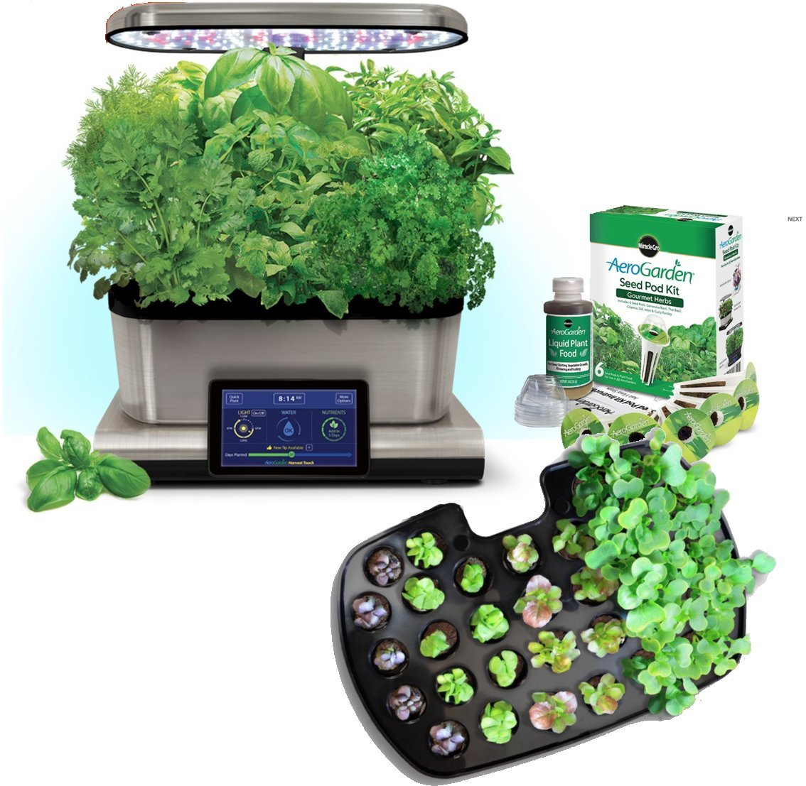 cheap aerogarden harvest touch 6 led stainless steel with. Black Bedroom Furniture Sets. Home Design Ideas