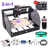 2-in-1 2500MW Laser Engraver CNC 3018 Pro-M Engraving Machine, GRBL Control 3 Axis DIY Mini CNC Machine Wood Router Engraver with Offline Controller + ER11 Extension Rod + CNC Router Bits (Tamaño: 203548)