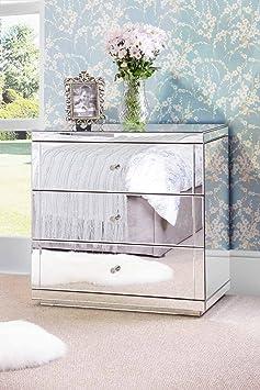 My-Furniture Helios/Flavia Commode à 3 tiroirs avec plinthes Finition miroirs