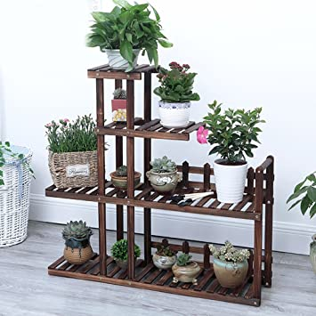 Multilayer Flor Racks Madera Bonsai Estantes Piso De Madera Balcones Potes Racks De Estilo Europeo