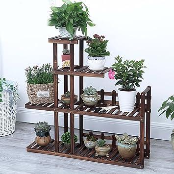 Multilayer Blumenregale Hölzerne Bonsai Regale Holzböden Balkone Töpfe Racks European Style