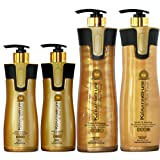 Keratin Cure Best Treatment Gold and Honey Bio 4 Piece 15-32 oz Silky Soft Hair Formaldehyde Free Professional Complex with Argan Oil Nourishing Straightening Damaged Dry Frizzy Coarse Curly Wavy Hair