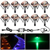 FVTLED Pack of 10 Multi-color Low Voltage LED Deck lights kit F1.38
