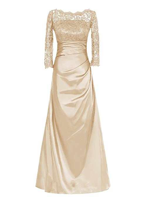 Dresstells® Long Mother of Bride Dress Long Sleeved Bridesmaid Dress Party Gown Champagne Size14