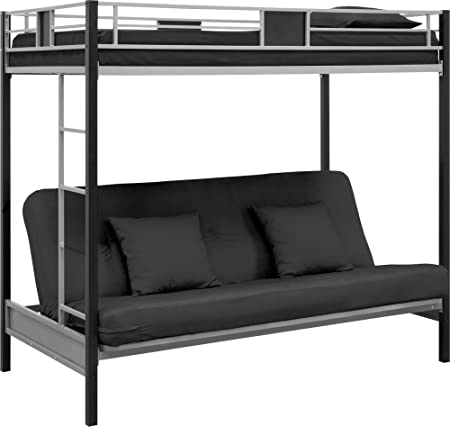 DHP Screen Over Futon Metal Bunk Bed, Silver/Black