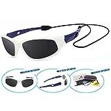 VATTER TR90 Unbreakable Polarized Sport Sunglasses For Kids Boys Girls Youth 816whiteblue