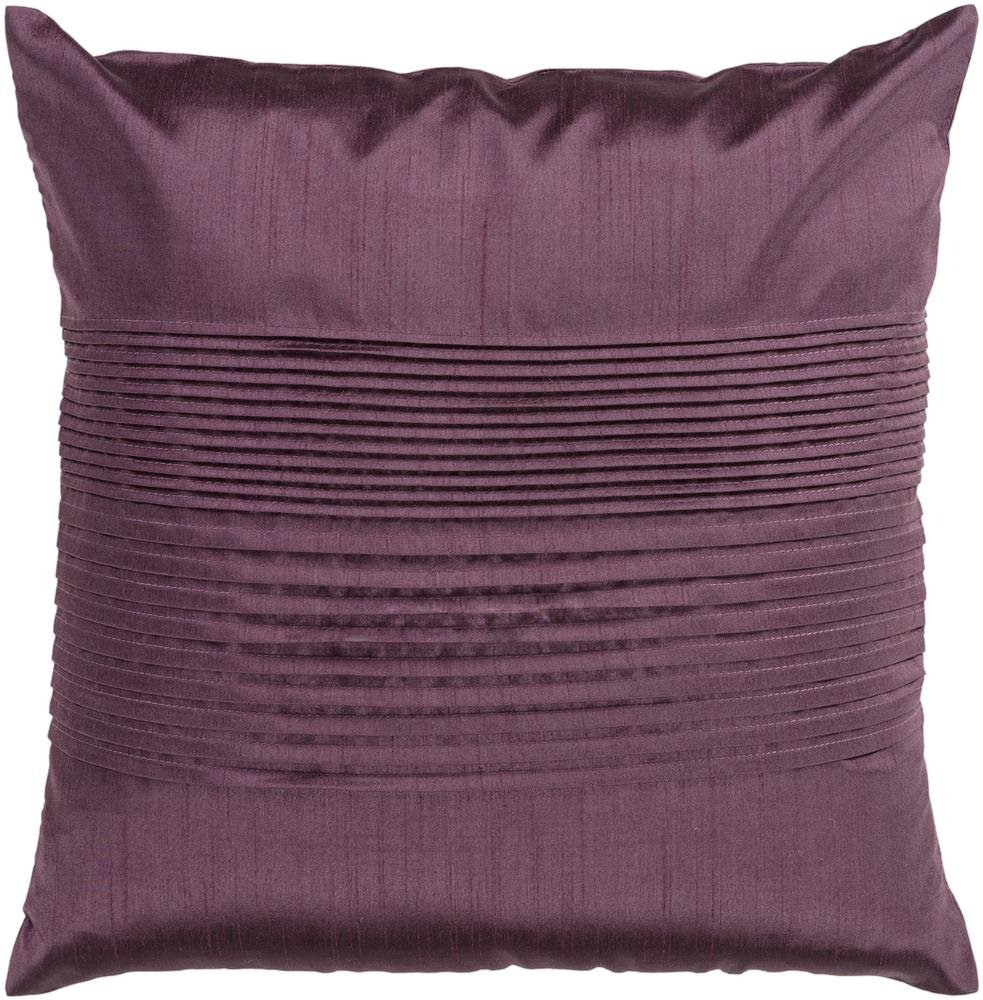 Surya HH-016 Hand Crafted 100% Polyester Plum 22 x 22 Solid Decorative Pillow