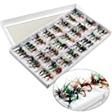Sougayilang Bass Salmon Trout Colorful Assortment Fly Fishing Flies Pack of 96pcs (Color: 96PCS)