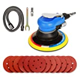 ZFE 6'' Air Random Orbital Sander, Dual Action Pneumatic Sander with 12 Pcs Sanding Discs Pad (#80,#120,#240,#320), 6 Inch Air Sander & Polisher for Car and Metal (Color: Blue, Tamaño: 6 Inch Air Sander)