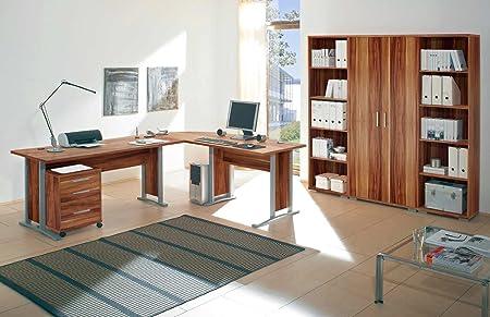 Arbeitszimmer komplett Buromöbel Komplettset mit großem Schreibtisch / Winkelschreibtisch in Walnuss / Nußbaum