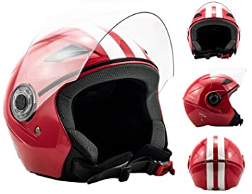 SOXON SP-312 Speed red - rouge casque JET moto Cruiser Pilot - Taille: XS S M L XL