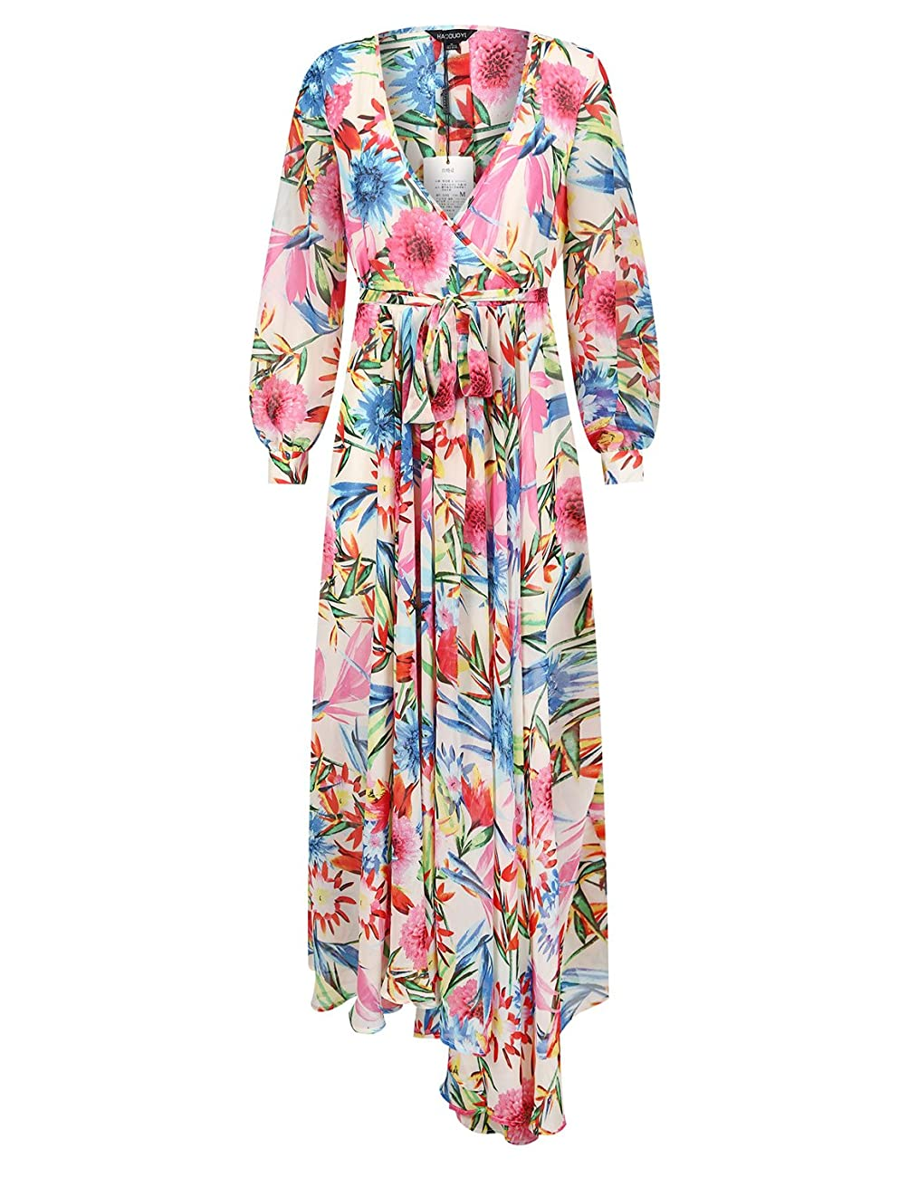 Haoyihui Vintage Style Chiffon V Neck Puff Pleated Wrap Long Maxi Full-Skirted Dress 1