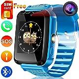 Kids Phone Smart Watch [Free SIM Speedtalk ] 2 Way Call 3-15 Year Children Boys Girls Teen SOS Game Camera 1.54'' HD Touch Screen Bracelet Wrist Watches Bluetooth Travel Birthday Gift Back To School (Color: Blue)
