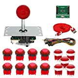 Gamelec Arcade Game Buttons and Joysctick Kit with 5 Modes Buttons Lighting for Windows System, Raspberry Pi,Mame,Jamma,PS3,MAC,Linux and Android Video Games (Red)