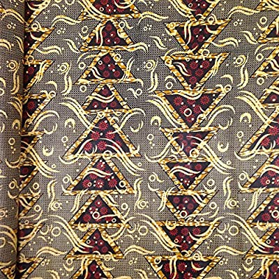 African Print Fabric Cotton Print Millennium Gold 44'' wide By The Yard Grey Red Black