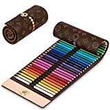 Lovion Colored Canvas Pencils Wrap Roll Up Case Holder for Artist Travel Drawing 40 Slots Portable Coloring Pencil (Coffee) (Coffee) (Color: Coffee)