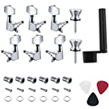 Canomo 6 Pieces Sealed Guitar String Tuning Pegs Keys 3 Left 3 Right Guitar Machine Heads Knobs With Strap Button Locks, Picks and Guitar String Winder for Electric or Acoustic Guitar (Color: silver, Tamaño: Sealed)