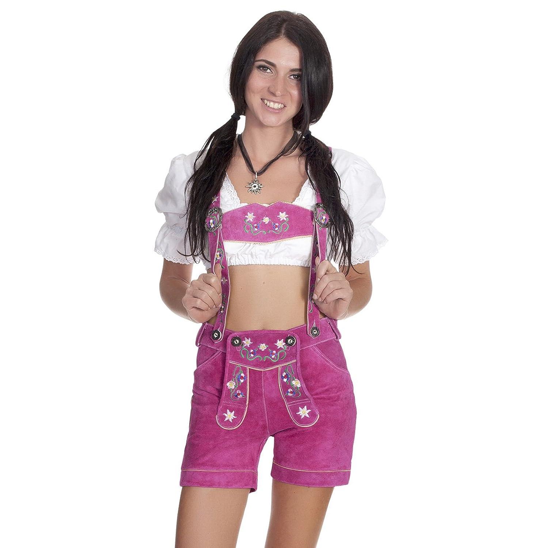 Damen Trachten Lederhose mit Trägern Pink mit bunter Stickerei Gr. 34 bis 42 online kaufen