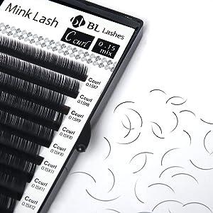 51b18d1a321 Eyelash Extension BL Mink Lash C Curl Thickness 0.15mm (0.15 MIX) (Tamaño:  0.15 MIX)