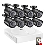 ZOSI 5MP Security Camera System,8 Channel 1920p CCTV DVR Reorder(2TB HDD Built-in) W/8x HD 5MP(2592 x 1920) Outdoor/Indoor Day Night Vision Surveillance Camera-Remote Access,Motion Detection