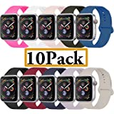 YANCH Compatible with for Apple Watch Band 38mm 40mm, Soft Silicone Sport Band Replacement Wrist Strap Compatible with for iWatch Nike+,Sport,Edition,S/M,Size,10 Pack (Color: Z1-10 pack, Tamaño: 38mm/40mm S/M)
