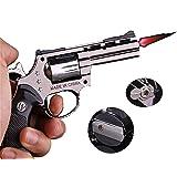 FengFang Windproof Lighter Revolver Inflatable Reusable Flame Size Adjustment Metal Butane Torch (609#)