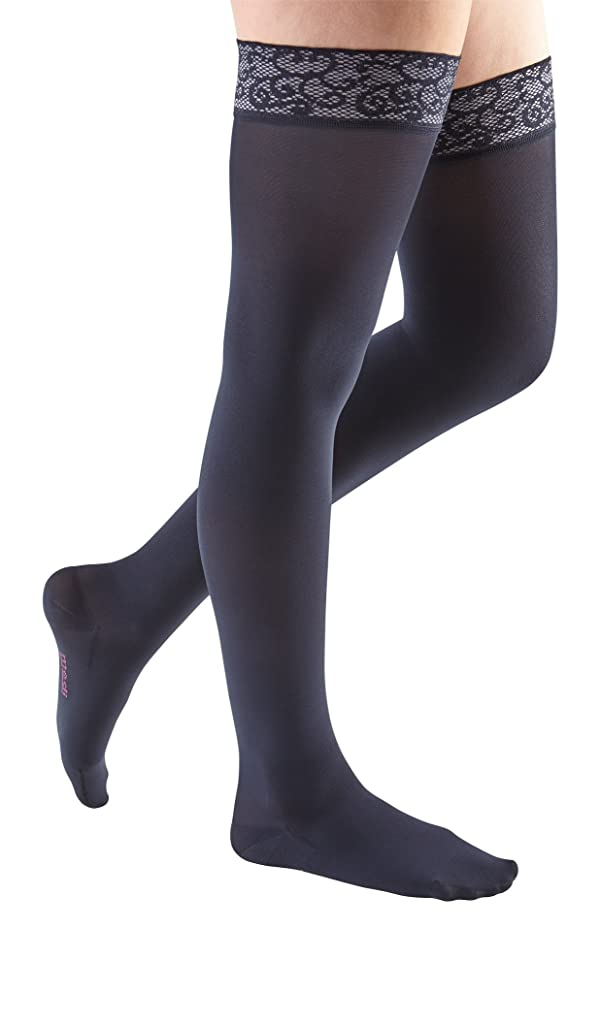 mediven Comfort, 20-30 mmHg, Thigh High Compression Stockings w/Lace Top-Band, Closed Toe (Color: Navy, Tamaño: I - Petite)