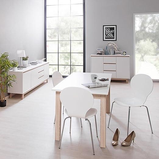 Esszimmer Anzo 12 weiß 3-teilig Esstisch Kommode Sideboard Ausziehtisch Speisezimmer