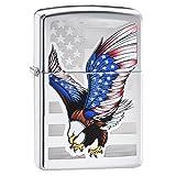 Zippo Flag Design Eagle Pocket Lighter, High Polish Chrome (Color: High Polish Chrome Flag Eagle)