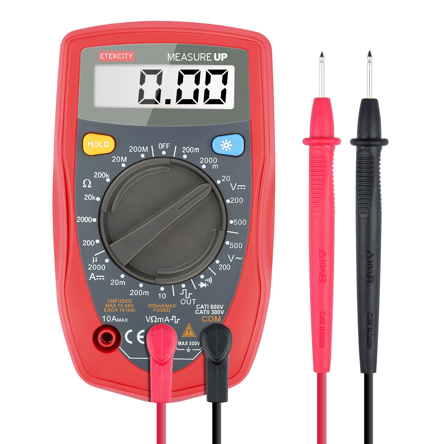 Etekcity MSR-R500 Digital Multimeter, Amp / Ohm / Volt Meter, Multi Tester w/ Diode and Continuity Test (Red)